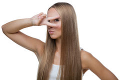 Красивый жест v выставок женщины Стоковая Фотография RF