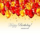 Красивый заголовок с днем рождений с реалистическими красными воздушными шарами иллюстрация штока