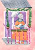 Красивый зайчик который имеет сад на балконе Стоковые Изображения RF