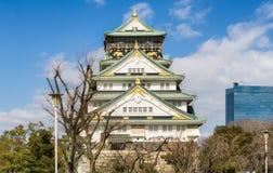 Красивый замок Осака архитектуры с деревом Стоковые Фото