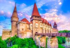 Красивый замок Hunyad Corvin средневековый в городке Hunedoara, landamark Трансильвании, Румынии, Европе Стоковое фото RF