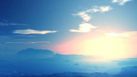 Красивый заход солнца в голубых горах сток-видео