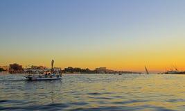 Красивый заход солнца в Египте на пляже стоковое изображение rf