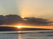Красивый заход солнца в Мауи! стоковые фотографии rf