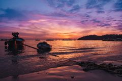 Красивый заход солнца в предпосылке Стоковое Изображение