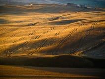 Красивый заход солнца в Тоскане, Италии Стоковая Фотография RF