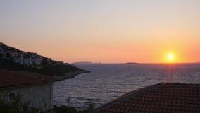 Красивый заход солнца в Kas, Турции сток-видео