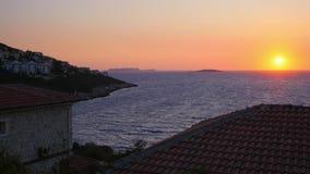 Красивый заход солнца в Kas, Турции акции видеоматериалы