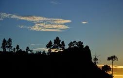 Красивый заход солнца, горы Gran canaria Стоковое Изображение RF