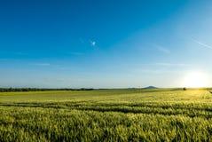 Красивый заход солнца над мирной сельской местностью Стоковые Изображения RF
