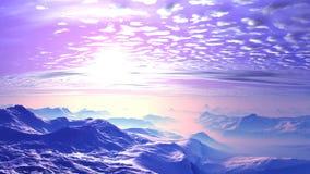 Красивый заход солнца над туманными горами акции видеоматериалы