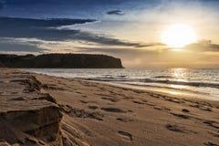Красивый заход солнца на пляже Cabo Ledo anisette вышесказанного стоковое фото rf