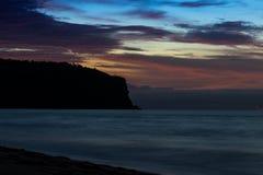 Красивый заход солнца на пляже Cabo Ledo anisette вышесказанного стоковые изображения rf