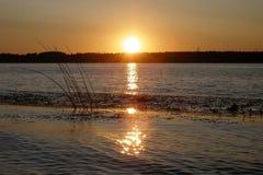 Красивый заход солнца на Реке Волга в лете, зоне Yaroslavl Стоковое фото RF