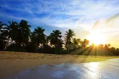 Красивый заход солнца неба на caribean Стоковые Изображения