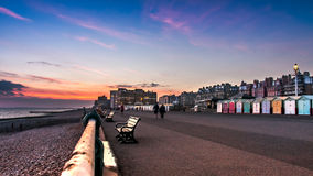 Красивый заход солнца в Брайтоне, Великобритании Стоковое фото RF