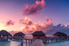 Красивый заход солнца в Мальдивах Стоковая Фотография RF
