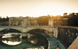 Красивый заход солнца в Риме Стоковое Фото