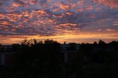 Красивый заход солнца в Швеции Стоковые Фотографии RF