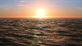 Красивый заход солнца на анимации 3d закрепленной петлей океаном Светить Солнця яркий с пирофакелами 4K UHD 3840x2160 сток-видео