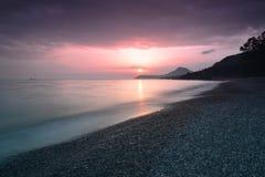 Красивый заход солнца на адриатическом побережье Стоковое фото RF