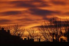 Красивый заход солнца над крышами Стоковое Фото
