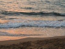 Красивый заход солнца на море в Израиле Стоковая Фотография