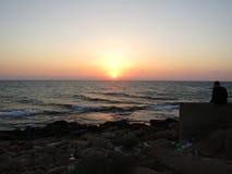 Красивый заход солнца на море в Израиле Стоковое Фото