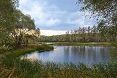 Красивый заход солнца на озере Стоковое Изображение RF
