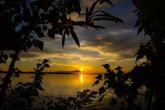Красивый заход солнца на пруде Стоковые Фото