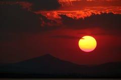 Красивый заход солнца на Enisala Стоковые Изображения