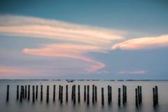 Красивый заход солнца seascape ландшафта стоковое изображение rf