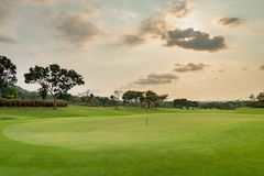 Красивый зеленый взгляд банкира зеленой травы и песка на облачном небе поля для гольфа стоковая фотография rf