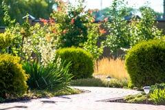 Красивый дизайн ландшафта задворк Взгляд красочных деревьев и декоративных уравновешенных утесов кустов Стоковые Фотографии RF