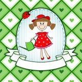 Красивый дизайн поздравительной открытки с садовником девушки Стоковые Фото