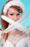 Красивый имбирь в платье ферзя снега Стоковое Фото