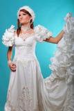 Красивый имбирь в платье ферзя снега стоковые фото