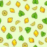 Красивый лимон анимации приносить и мята на зеленой предпосылке Чертеж лимона картина безшовная Стоковая Фотография