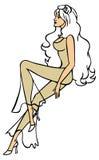 Красивый длинн-шагающий чертеж девушки Стоковые Изображения RF