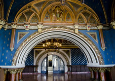 Красивый интерьер в дворце культуры, Iasi, Румынии Стоковые Изображения RF
