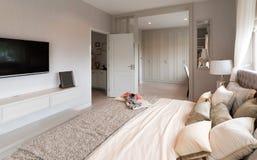 Красивый интерьер комнаты с паркетами и взглядом нового роскошного дома Стоковые Изображения