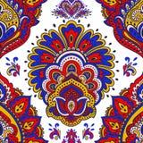 Красивый индийский флористический безшовный орнамент Этническая мандала хна иллюстрация штока