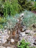 Красивый искусственный водопад на плоских камнях пропускает между посадкой орнаментальной травы Стоковые Фото