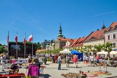 Красивый исторический рынок в Pszczyna, Польше стоковые изображения rf