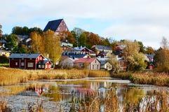 Красивый и классический старый городок в осени Стоковые Изображения