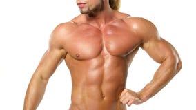 Красивый и сильный молодой мышечный парень акции видеоматериалы