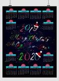 Красивый календарь 2019 Нового Года дизайн с космосом на ваши примечания и дата иллюстрация вектора