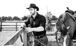 Красивый ковбой, всадник лошади на седловине, верхом ботинках adn стоковые изображения