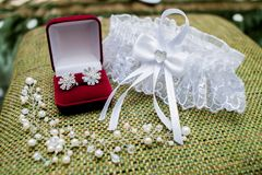 Красивый комплект аксессуаров свадьбы ` s женщин Утро ` s невесты Стоковая Фотография