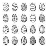 Красивый комплект пасхальных яя doodle Изолированный эскиз конструируйте поздравительные открытки и приглашения предпосылки к пас Стоковое Изображение RF